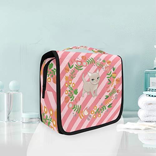 Chat De Fleur Rose Trousse De Toilette Sac Pliable Suspendu Cosmétique Sac Rangement Maquillage sacs pour Voyage Femmes Filles