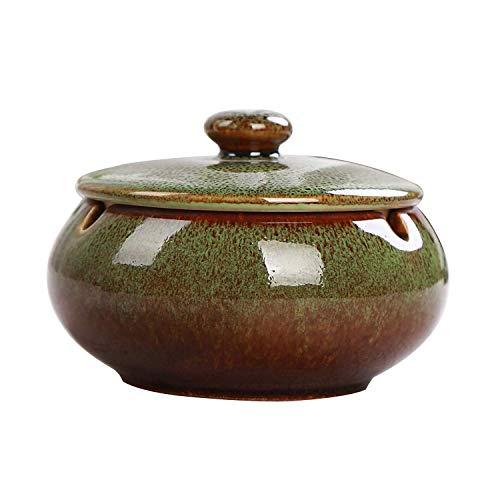 AMITD sigaren asbak, Chinese keramische asbak met een afdekking theetafel salontafel kleine decoratie woning slaapkamer retro sigaar rook, roze
