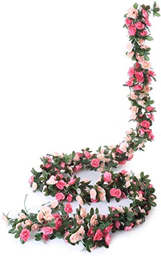 SZJH 5 Pack 41 FT Flower Garland FFake Rose Vine Artificial Flower Hanging Rose Ivy Home Hotel Office Wedding Party Garden Craft Art Décor (pink)