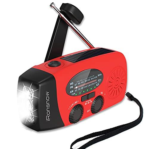 【Upgraded 2000mAh】 iRonsnow Solar Emergency NOAA Weather Radio Dynamo Hand Crank Self Powered AM FM WB Radios 3 LED Flashlight 2000mAh with Charging Indicator Smart Phone Charger Power Bank (Red)