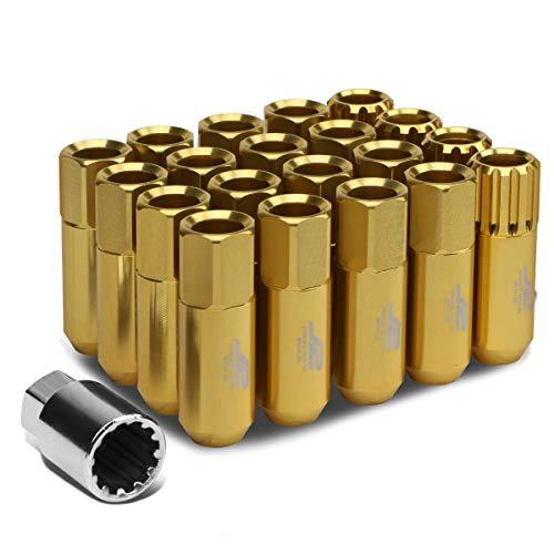 J2 Engineering LN-T7-010-15-GD Gold 7075 Aluminium M12 x 1,5 16 Stück L: 60 mm offene Radmuttern mit 4 Stück Schloss und Schlüssel