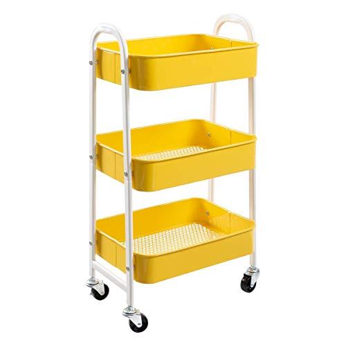 Rollwagen Küchenwagen Servierwagen Aufbewahrungswagen 3-Etagen Metall Utility Cart mit Rädern für Küche Make-up Badezimmer Büro, Gelb Weiss