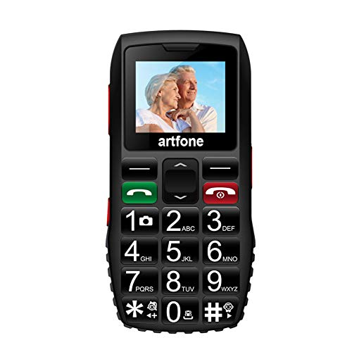 Artfone Big Button Mobile Phone for Elderly,Upgraded GSM Mobile Phone With SOS Button | Talking Number | 1400mAh Battery | Dual SIM Unlocked | Torch Side Buttons | Bluetooth(Black)