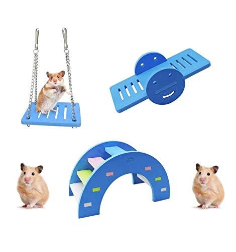 DAIRF 3 Stück Schöne Hamster Spielzeug, Regenbogenbrücke & Wippe & Schaukel Hamster Spielzeug Kit Langeweile Breaker Kleintier-Aktivitätsspielzeug,DIY Hamsterkäfig Zubehör für kleine Haustiere