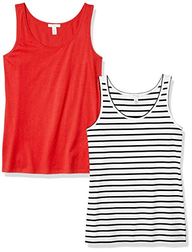 Amazon Brand - Daily Ritual Women's Lightweight 100% Supima Cotton Tank Top, Red/White-Navy Stripe, X-Large