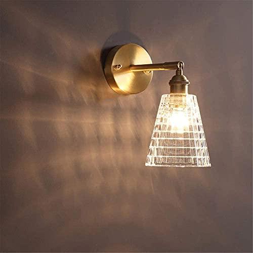 Lámpara de pared de latón interior, pared giratoria E27 con luz de vidrio de vino Luz de pared para restaurante