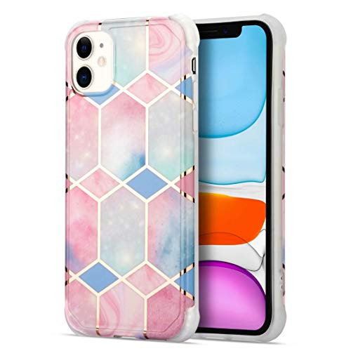 iPhone 12,iPhone 12 Pro Case, Glitter Bling Plating Splice Marble Design Slim Fit Soft TPU Phone Case Shockproof Silicone Anti-Scratch Rubber Bumper Protective Back Cover for iPhone 12,iPhone 12 Pro