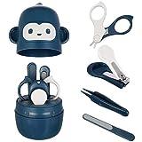Juego de cortaúñas para bebé Juego de cuidado, para guardería con tijera de seguridad pinzas y lima de uñas, set de cuidado de uñas para recién nacidos (Azul)