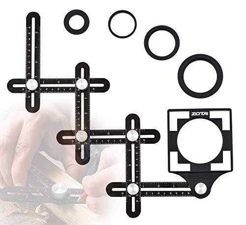 ZOTA Winkelschablone,6-seitiges Fliesen Werkzeug mit 5-Loch-Positionierungsöffnung,Multi Winkel Messwerkzeug aus Aluminiumlegierung Messgerät für Tischler Fliesenleger