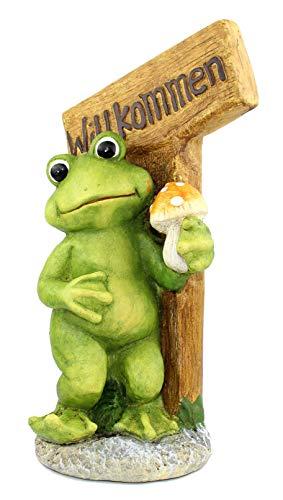 Frosch auf Stein mit Schild Willkommen 50 cm groß Dekofrosch Gartenfigur Froschfigur Gartenfrosch Willkommendeko