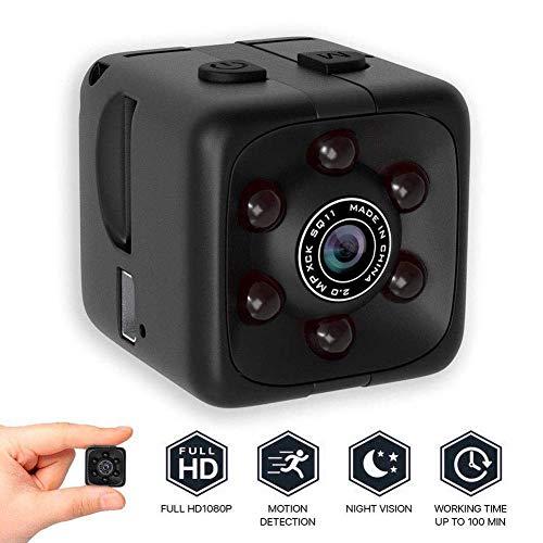 Full HD 1080P Tragbare Kleine Überwachungskamera, Mikro Nanny Cam mit Bewegungserkennung und Infrarot Nachtsicht, Compact Sicherheit Kamera für Innen und Aussen Schwarz OneSize