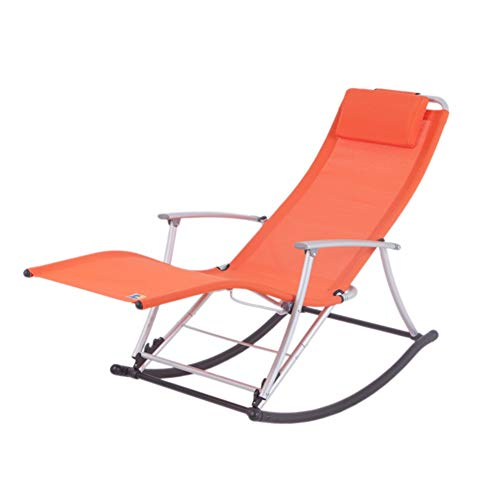 LIXIONG Outdoor Garden Relax Rocking Chair Folding Lounge Chair All Weather Armchair W/Removable Pillow Portable Sun Loungers Patio Camping Beach,7 Colour (Color : Orange)