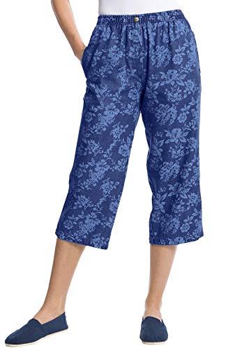 Woman Within Women's Plus Size Elastic-Waist Cotton Capri Pants - 16 W, Medium Stonewash Shadow Floral Blue