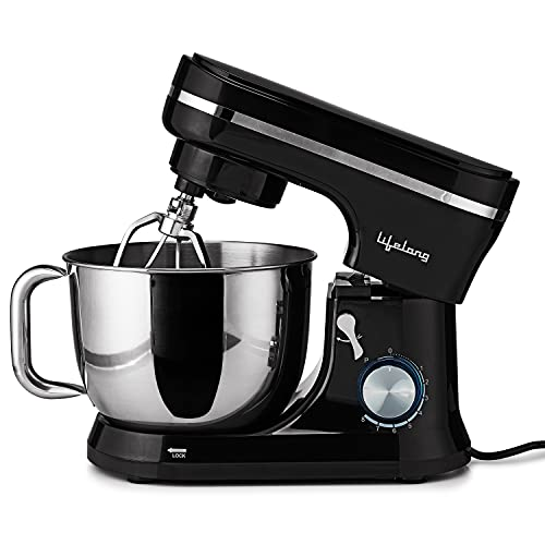 Lifelong Stand Mixer 1000W with 5L SS Bowl|100% Pure Copper Motor| Includes Whisking Cone, Mixing Beater for Cake & Dough Hook, Spatula andSplashGuard and 8 Speed Options (Black)