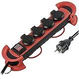 Regleta profesional de 3 m para exteriores, cable de goma H07RN-F 3G1.5, 4 enchufes Schuko con conector IP44, colgante con 2 ganchos, color negro y rojo