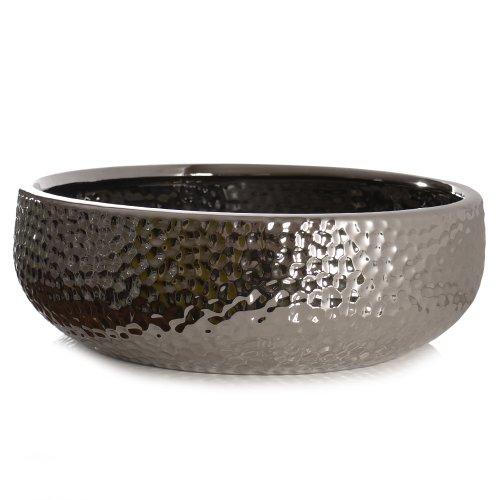 Schale CORO, Keramik, silber glasiert, Kaheku, 30 cm
