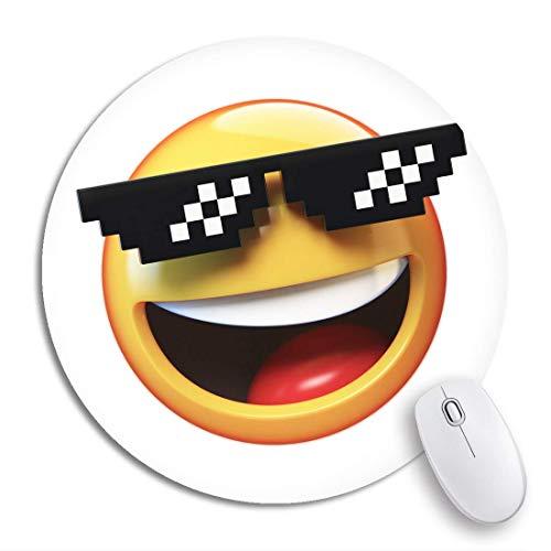 Rundes Mauspad Gelb Computer Deal It Emoticon Pixelierte Sonnenbrille 3D-Rendering Rutschfeste Gummibasis Mausmatte Gaming Mousepad für Computer