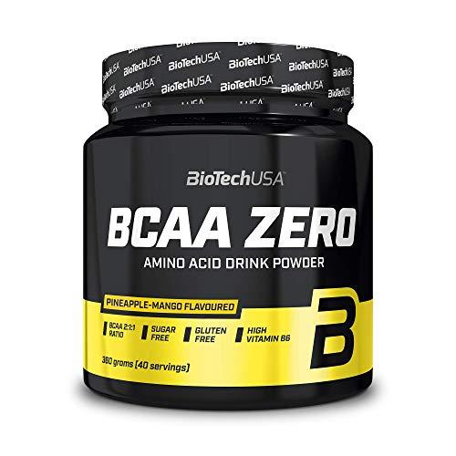 BioTechUSA BCAA Zero Bevanda in polvere di aminoacidi aromatizzata senza zucchero, con L-leucina, L-isoleucina e vitamina B6, 360 g, Ananas-Mango