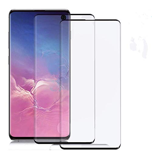"""2-Pack Galaxy S10 Plus Screen Protector Tempered Glass - HD Clear Protective Film[9H Hardness] [Full Coverage][Fingerprint Support][Case Friendly] [Bubble Free], for Samsung Galaxy S10 Plus(6.4"""")"""