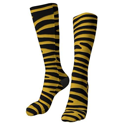 hdyefe Zebra oder Tiger Senf gelb horizontale Streifen benutzerdefinierte Dicke warme Crew Socken Mid Calf Dress Socken Casual Winter Lange Socken für Männer Frauen