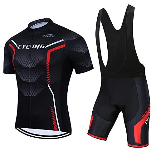 HBYMV Pantaloncini da Ciclismo in Jersey da Ciclismo da Uomo Pantaloncini da Ciclismo da Strada-Nero Salopette_XL