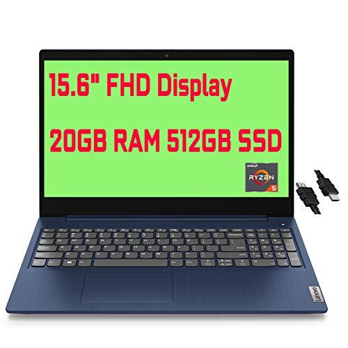 "2021 Flagship Lenovo IdeaPad 3 Business Laptop 15.6"" FHD Display AMD Quad-Core Ryzen 5 3500U(Beats i5-8210Y) 20GB RAM 512GB SSD AMD Radeon Vega 8 Graphics Dolby Win10 + iCarp HDMI Cable"