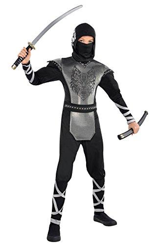 L pour garçon Motif loup hurlant Costume de Ninja pour déguisement style Oriental