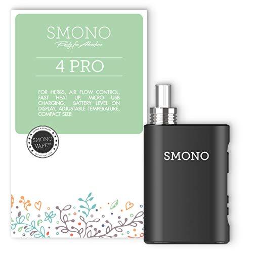 Smono No. 4 PRO Premium Vaporizer - Verdampfer + Premiumheizung + nur 25 Sek. Aufheizzeit +Labor Glasmundstück + hohe Sicherheit - Kein Nikotin
