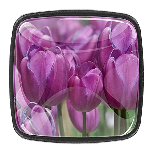 (4 piezas) pomos de cajón para cajones, tiradores de cristal para gabinete con tornillos para armario, hogar, oficina, armario, tulipanes morados, flor de flores de 35 mm