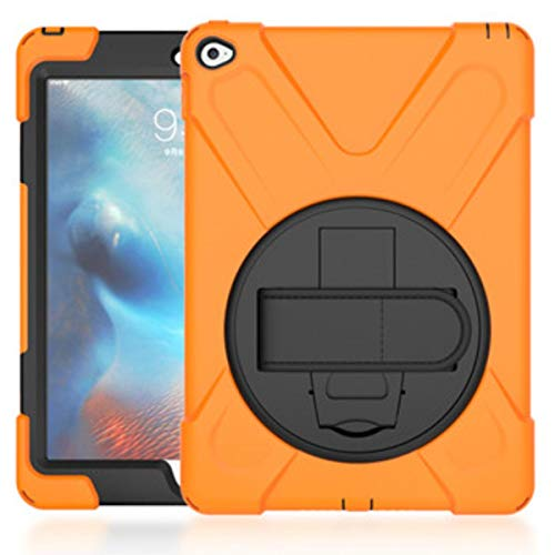 360 Degree Swivel Stand for iPad Air2, 3-Layer Drop Protection Rugged Protective Heavy Duty Cover for iPad 6 9.7 inch,Orange