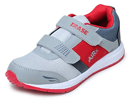 TRASE Stylish Sports,Running Shoes for Boys - Grey Red, 5 UK