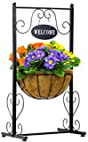 Sorbus Welcome Planter Basket Stand with Coco Liner, Stylish Flower, Plant, and Outdoor Décor for Home, Garden, Patio, Deck, Black Metal