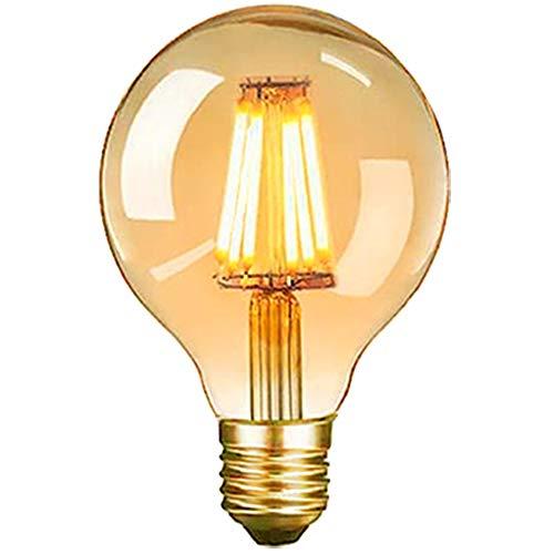 Edison Vintage Glühbirne, E27 LED Dekorative Antike Leuchtmittel Globe Birne, G80 6W warmweiß 2700K Filament Lampe, Amber Glas, Ideal für Nostalgie und Retro Beleuchtung, 1 Stück