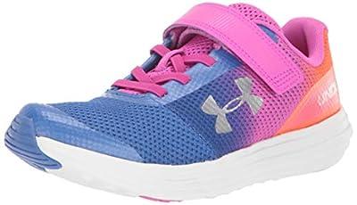 Under Armour Girls' Pre School Surge RN Prism Adjustable Closure Sneaker Tempest, Tempest (403)/Peach Plasma, 1
