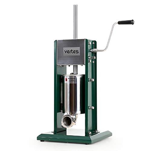 vertes Wurstfüllmaschine Wurstfüller Edelstahl Füllzylinder 3 Liter - 2 Gang (inkl. 4 Fülltüllen aus Edelstahl 16,22,32 und 38mm Ø, 3 zusätzliche Ersatzdichtungen, gehärtetes Stahl-Getriebe)