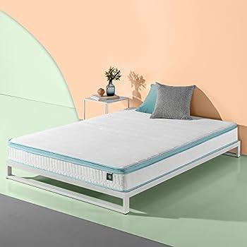 Zinus 8 Inch Mint Green Memory Foam Hybrid Spring Mattress Queen