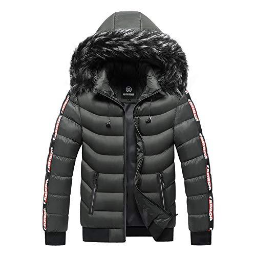 Winterjacke Herren Plus Size 4XL 5XL Dicker Warmer Parka Pelz Kapuze Smart Casual Jacke Mantel Taschen Windbreaker Outwear 5XL Grün