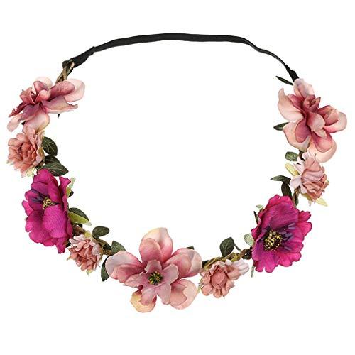 Dorical Stirnband Blumen, 1 Stück Stirnbänder Krone Haarband Kopfband Blume Haarbänder mit Elastischem Band für Hochzeit und Party Haarbänder Band für Frauen Mädchen Mehrfarbig (One Size, Z001-Rosa)