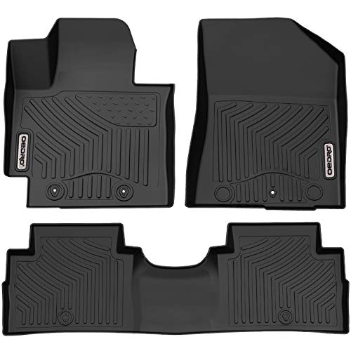 oEdRo Floor Mats Compatible for 2014-2019 Kia Soul, Unique Black TPE All-Weather Guard Includes 1st and 2nd Row: Front, Rear, Full Set Liners
