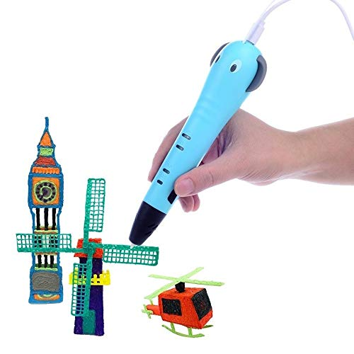 ZHQHYQHHX Intelligent Printer 3D-tekening afdrukken Pen met PLA gloeidraad vullingen Cartoon afbeelding Gifts for Kids 3D Printer ZHQEUR (Color : Blue, Consumable Type : PLA Filagment)