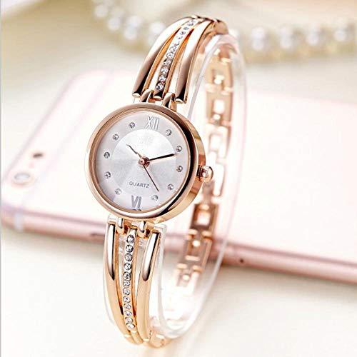 LFHKP Reloj de Moda Reloj de Pulsera de Acero de Gama Alta de Diamantes de imitación de la Correa de Acero Femenina de Las señoras Reloj de Moda