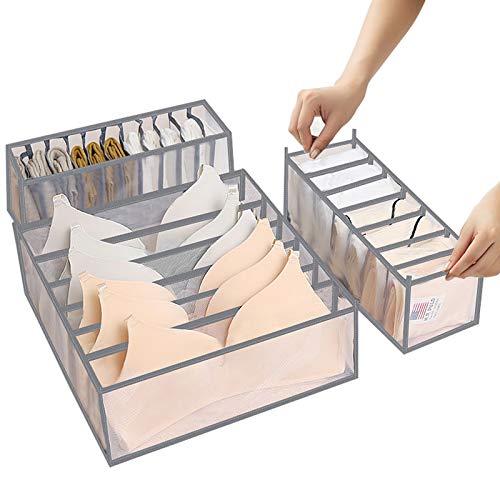 ABClife 3 Pezzi Organizer per Cassetti Biancheria Intima,Armadio Divisori Pieghevole Lavabile Storage Box, per Armadio, Biancheria Intima, Calzini, Cravatte e Sciarpe Contenitore Pieghevole (Grigio)
