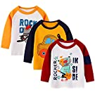 Boys Long Sleeve T-Shirt Cotton Casual Winter Crewneck Basic Active Tops Tee Tunic Shirts 3 Packs Sets