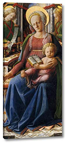 """Madonna and Child Enthroned with Two Angels by Fra Filippo Lippi - 11"""" x 24"""" Gallery Wrap Canvas Art Print - Ready to Hang"""