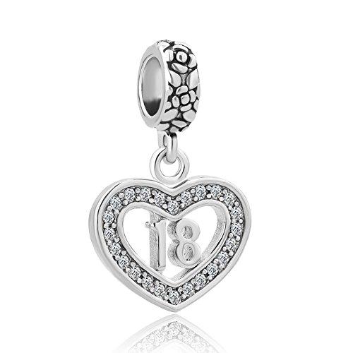 Korliya 18th Happy Birthday Charm Heart Love Dangle Bead for Bracelet