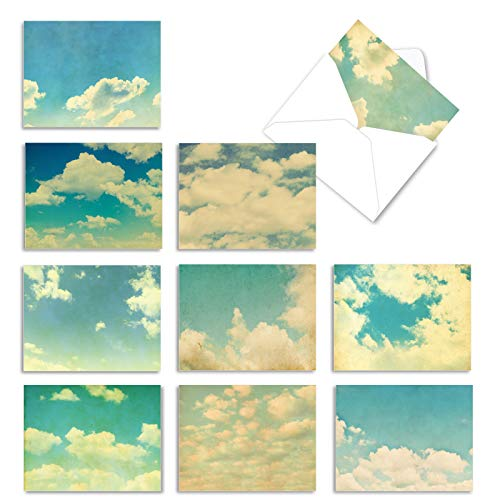 The Best Card Company - Box of 10 All Occasion Cards Blank (4 x 5.12 Inch) - Scenic Landscape Cards Assorted - Cloud 9 M2036