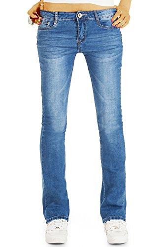 bestyledberlin Damen Boot-Cut Jeans, Schlagjeans Slim Fit, Ausgestellte Basic Jeans j53k 44/XXL