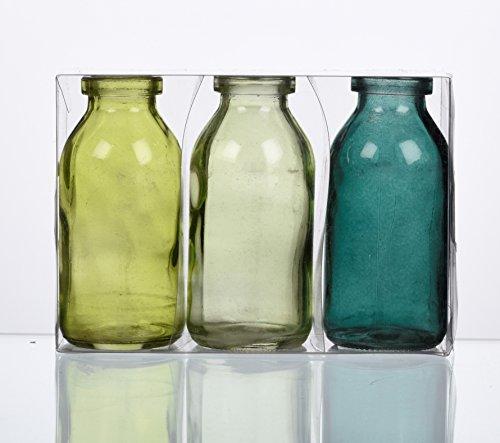 Unbekannt Sandra Rich. Glas VASE Bottle klein. 3 kleine Flaschen ca 10,5 x 5 cm. Petrol - GRÜN. 1165-10-51