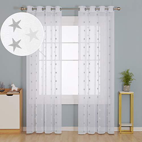 Deconovo Visillos para Ventanas Cortina Translúcida con Ojales para Dormitorio Infantil 2 Piezas 140 x 260 cm Gris Estrellas Grandes