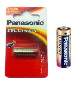 Pila alcalinaPanasonic LRV08, batería alcalinas para alarmas de coche (la mayoría) 23AE LRV0823A MN21.V23GA 33MAH 12V 28,9 x 10,3 mm; Peso 6 g.